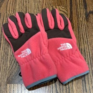 Pink fleece north face gloves size M